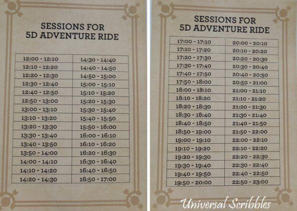 Airport 5D Adventure Ride Schedule