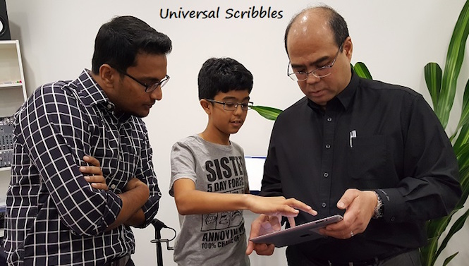 kids teaching adult how to use ipad